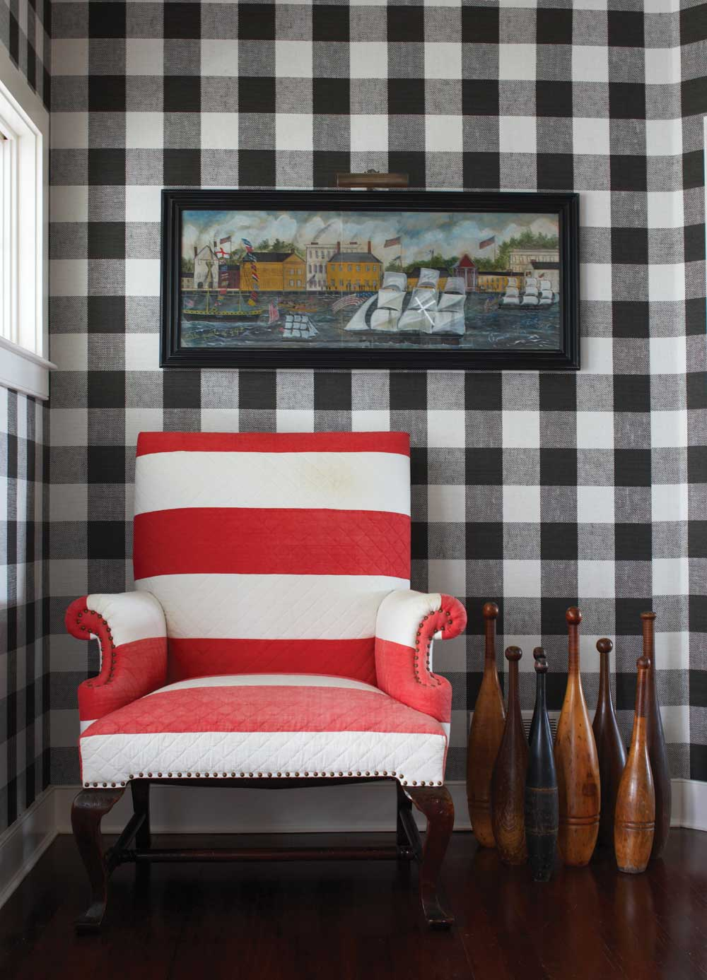 New England Home Mag Cococozy Vichy Gingham Black White Wall Covering Wallpaper Upholstered Wall