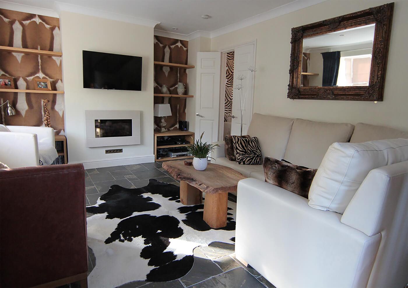 Subtly Themed Jungle Living Room Interior Design